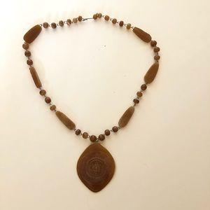 Vintage jasper lucite Aztec bead pendant necklace